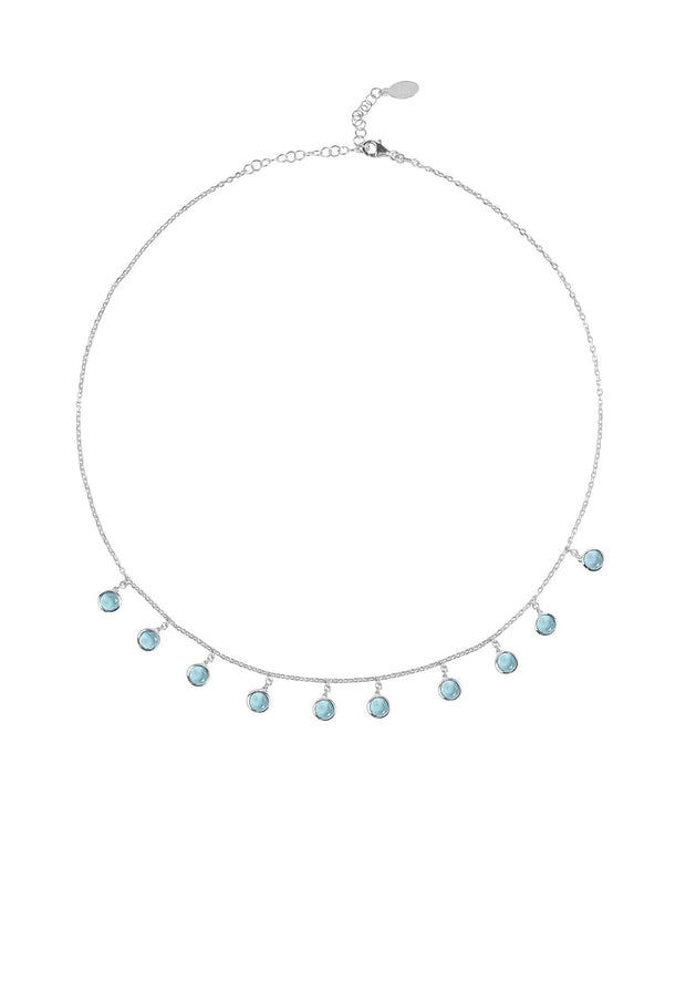 Florence Round Gemstone Necklace Silver Blue Topaz - LATELITA