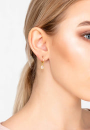 Pisa Mini Teardrop Earring Gold Rose Quartz - LATELITA