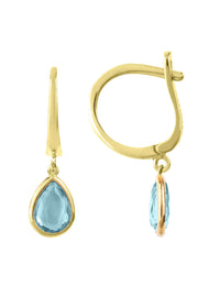 Pisa Mini Teardrop Earring Gold Blue Topaz - LATELITA