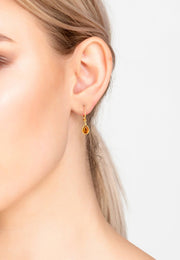 Pisa Mini Teardrop Earring Gold Citrine - LATELITA