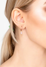 Pisa Mini Teardrop Earring Rosegold Rose Quartz - LATELITA