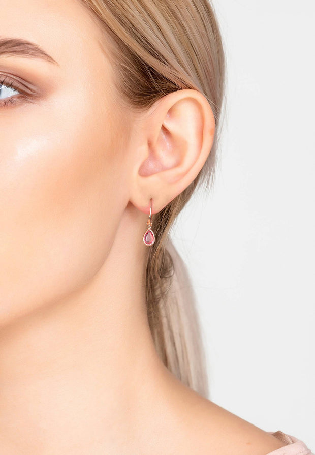 Pisa Mini Teardrop Earring Rosegold Pink Tourmaline - LATELITA