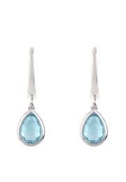 Pisa Mini Teardrop Earring Silver Blue Topaz - LATELITA