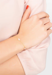 Venice Bracelet Gold Rose Quartz - LATELITA