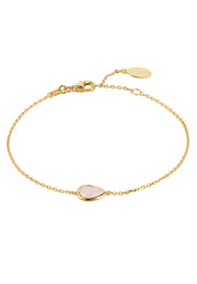 Pisa Mini Teardrop Bracelet Gold Rose Quartz - LATELITA