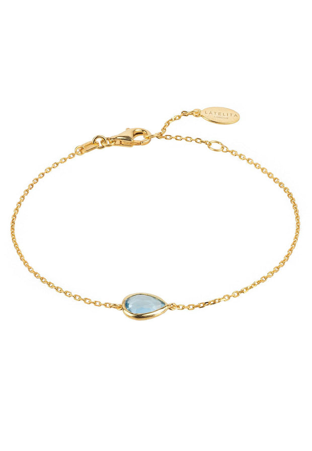 Pisa Mini Teardrop Bracelet Gold Blue Topaz - LATELITA