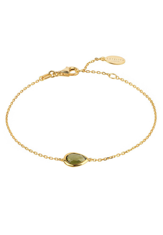 Pisa Mini Teardrop Bracelet Gold Peridot - LATELITA