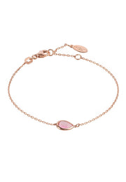 Pisa Mini Teardrop Bracelet Rosegold Rose Quartz - LATELITA