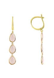 Sorrento Triple Drop Earring Gold Rose Quartz - LATELITA
