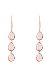Sorrento Triple Drop Earring Rosegold Rose Quartz - LATELITA