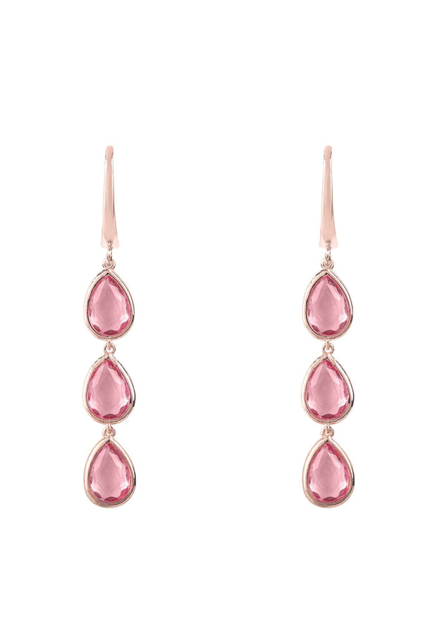 Sorrento Triple Drop Earring Rosegold Pink Tourmaline - LATELITA