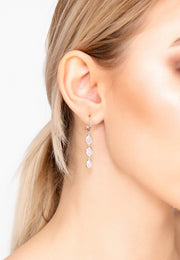 Sorrento Triple Drop Earring Silver Rose Quartz - LATELITA