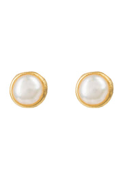 Petite Stud Earring Gold White Pearl - LATELITA