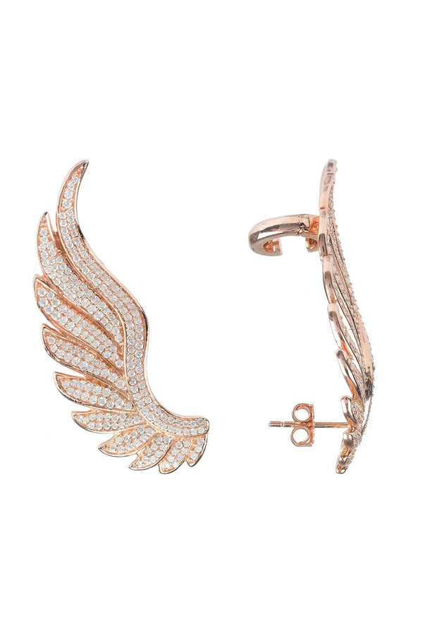 Gabriel Angel Wing Ear Climber Rosegold - LATELITA