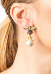 Baroque Pearl Honey Bee Drop Earring Gold - LATELITA