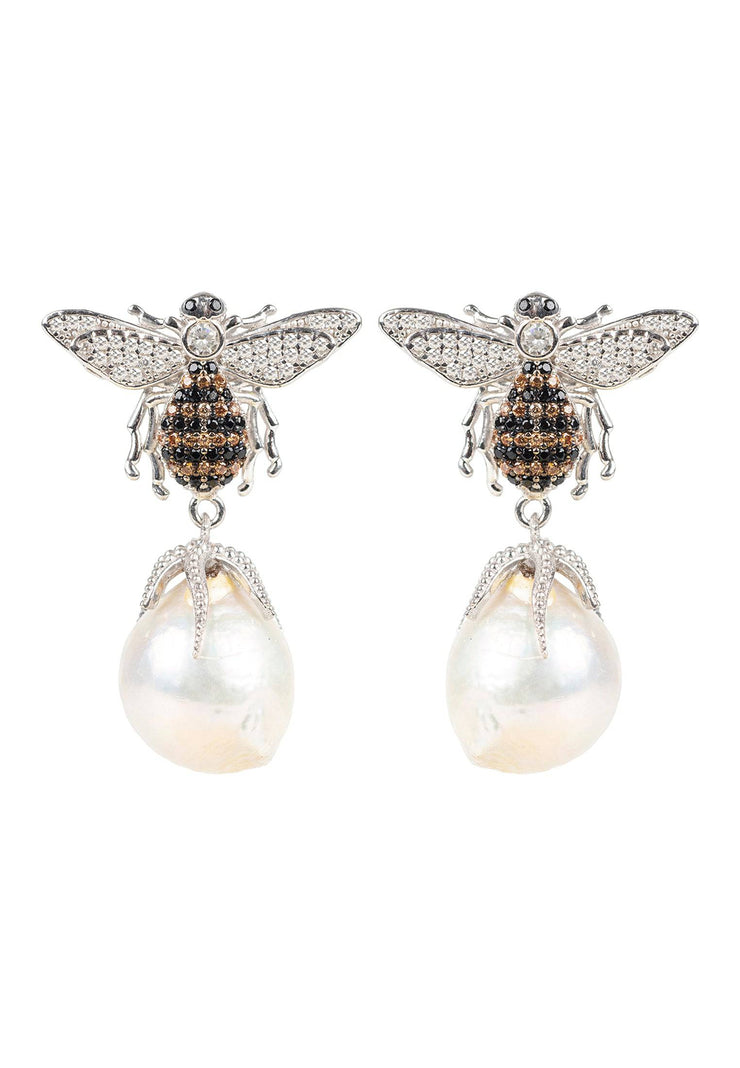 Baroque Pearl Honey Bee Drop Earring Silver - LATELITA