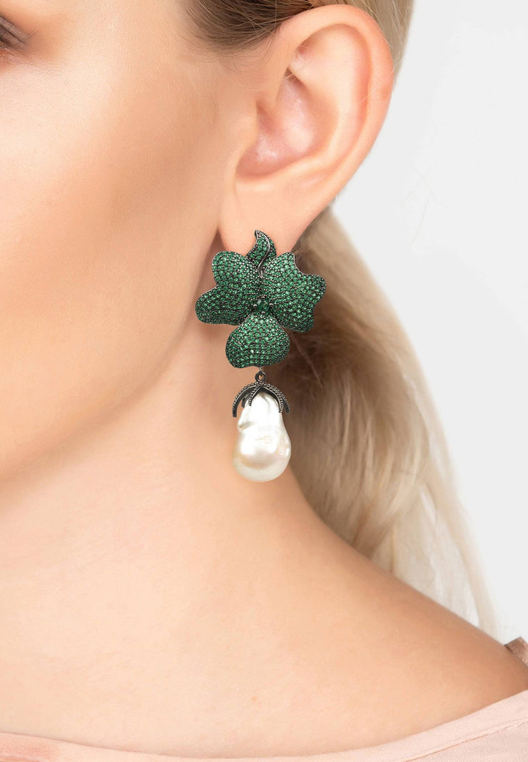 Baroque Pearl Green Flower Drop Earring Oxidised - LATELITA
