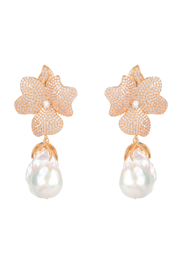 Baroque Pearl White Flower Drop Earring Rosegold - LATELITA