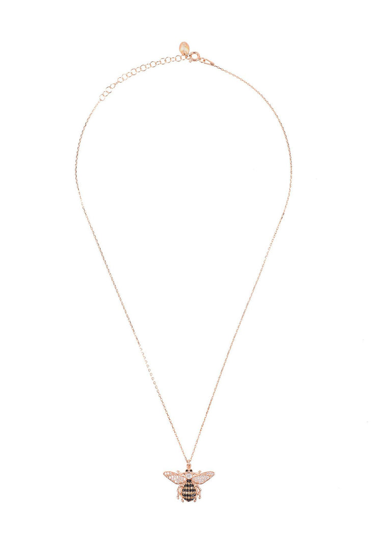 Honey Bee Pendant Necklace Rosegold - LATELITA