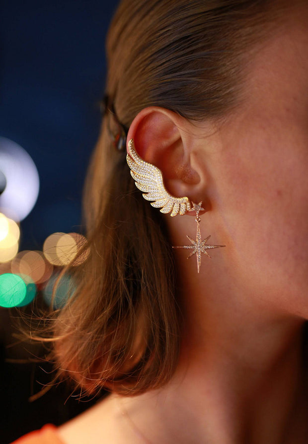 Gabriel Angel Wing Ear Climber Silver - LATELITA