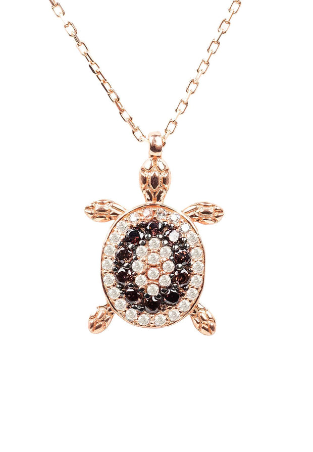Turtle Chocolate Pendant Necklace Pink Rosegold - LATELITA