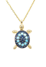 Turtle Turquoise Blue Pendant Necklace Gold - LATELITA