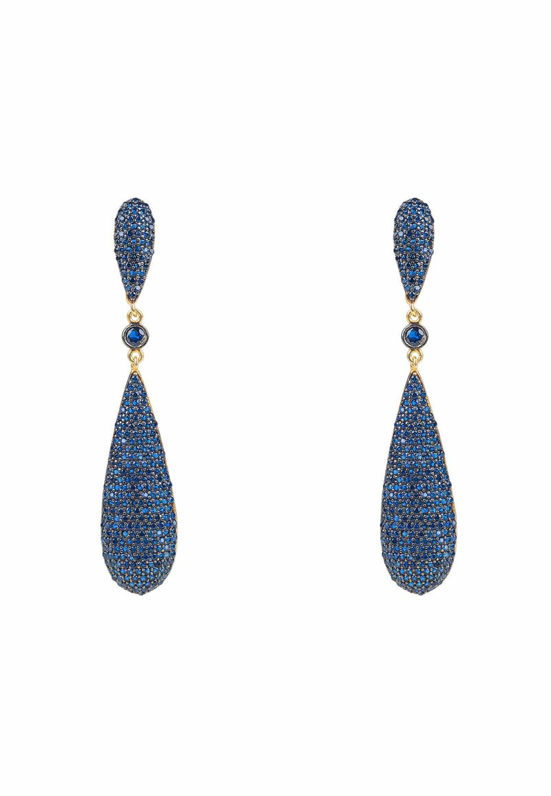 Coco Long Drop Earrings Sapphire Blue CZ - LATELITA