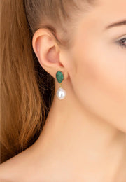 Baroque Pearl Classic Drop Earrings Emerald Green - LATELITA
