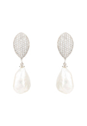 Baroque Pearl Classic Drop Earrings Silver - LATELITA
