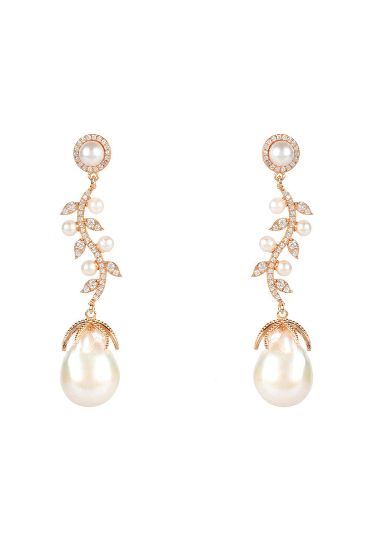 Baroque Pearl Trailing Flowers Earrings Rosegold - LATELITA