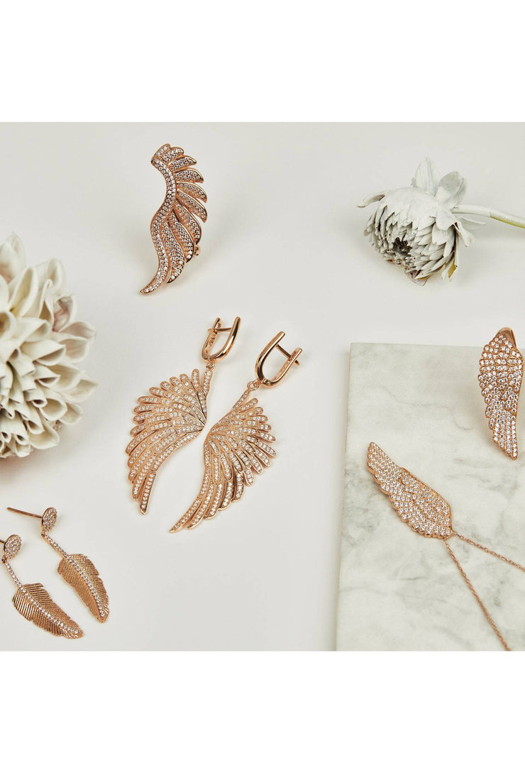 Angel Wing Drop Earring Rosegold White - LATELITA
