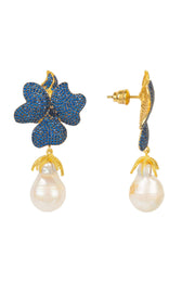 Baroque Pearl Sapphire Blue Flower Earring Gold - LATELITA