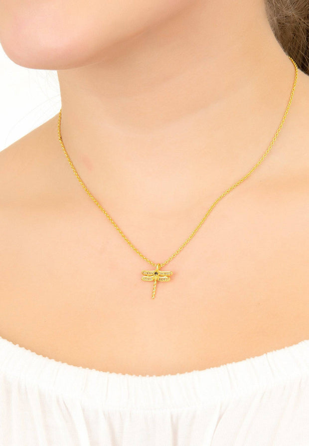 Diamond & Emerald Dragonfly Necklace Gold - LATELITA