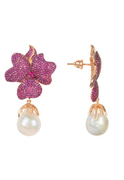 Baroque Pearl Ruby Red Flower Earring Rose Gold - LATELITA