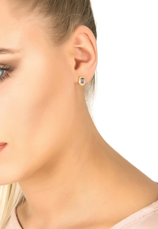 Birthstone Gold Gemstone Stud Earring February Amethyst - LATELITA