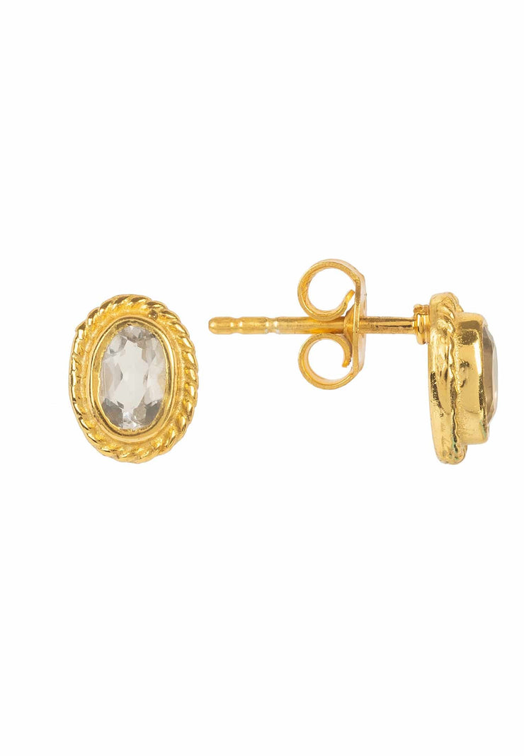 Birthstone Gold Gemstone Stud Earring April Quartz - LATELITA