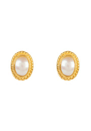 Birthstone Gold Gemstone Stud Earring June Pearl - LATELITA