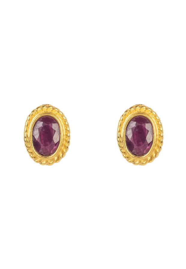 Birthstone Gold Gemstone Stud Earring July Ruby - LATELITA