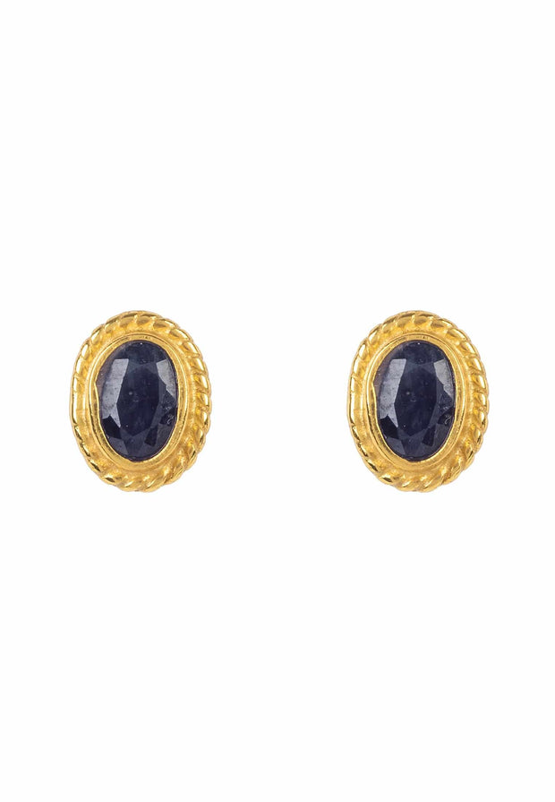 Birthstone Gold Gemstone Stud Earring September Sapphire - LATELITA