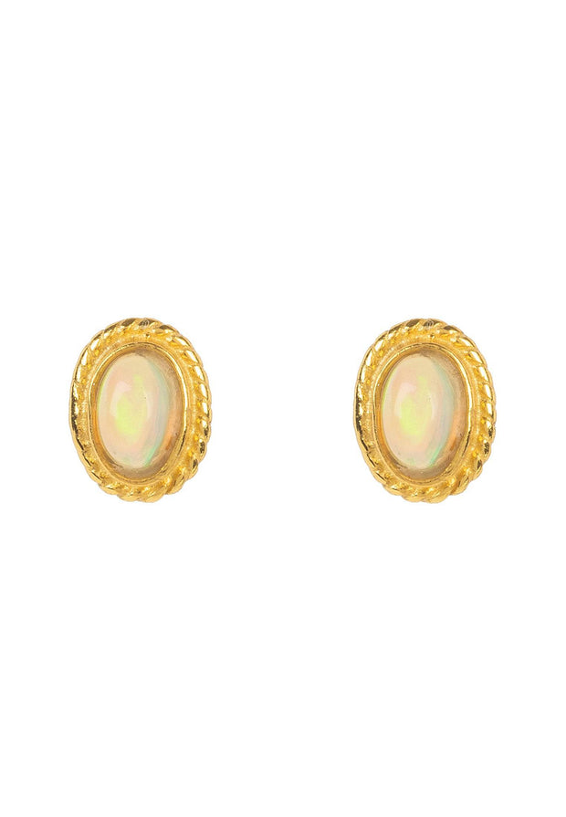 Birthstone Gold Gemstone Stud Earring October Opal - LATELITA