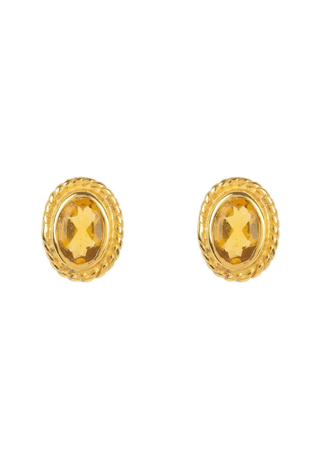 Birthstone Gold Gemstone Stud Earring November Citrine - LATELITA