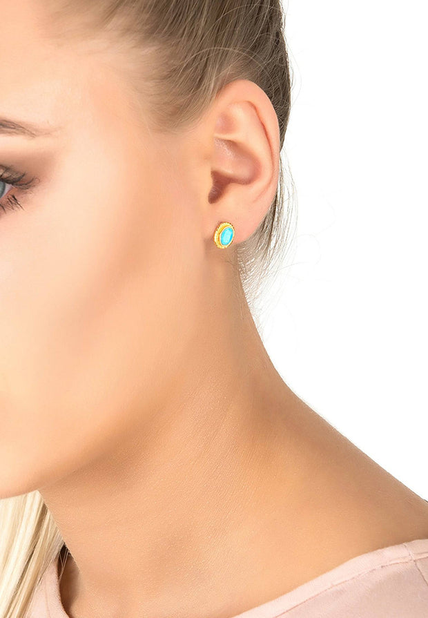 Birthstone Gold Gemstone Stud Earring December Turquoise - LATELITA