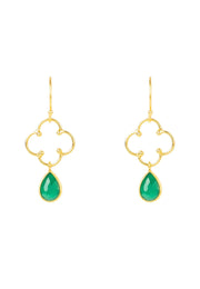 Open Clover Gemstone Drop Earring Gold Green Onyx - LATELITA