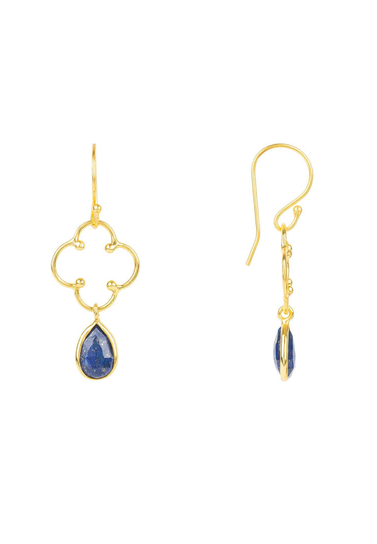 Open Clover Gemstone Drop Earring Gold Lapis Lazuli - LATELITA