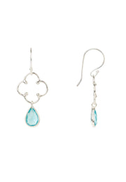 Open Clover Gemstone Drop Earring Silver Blue Topaz - LATELITA