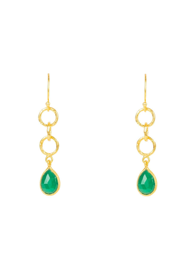 Linked Gemstone Drop Earring Gold Green Onyx - LATELITA