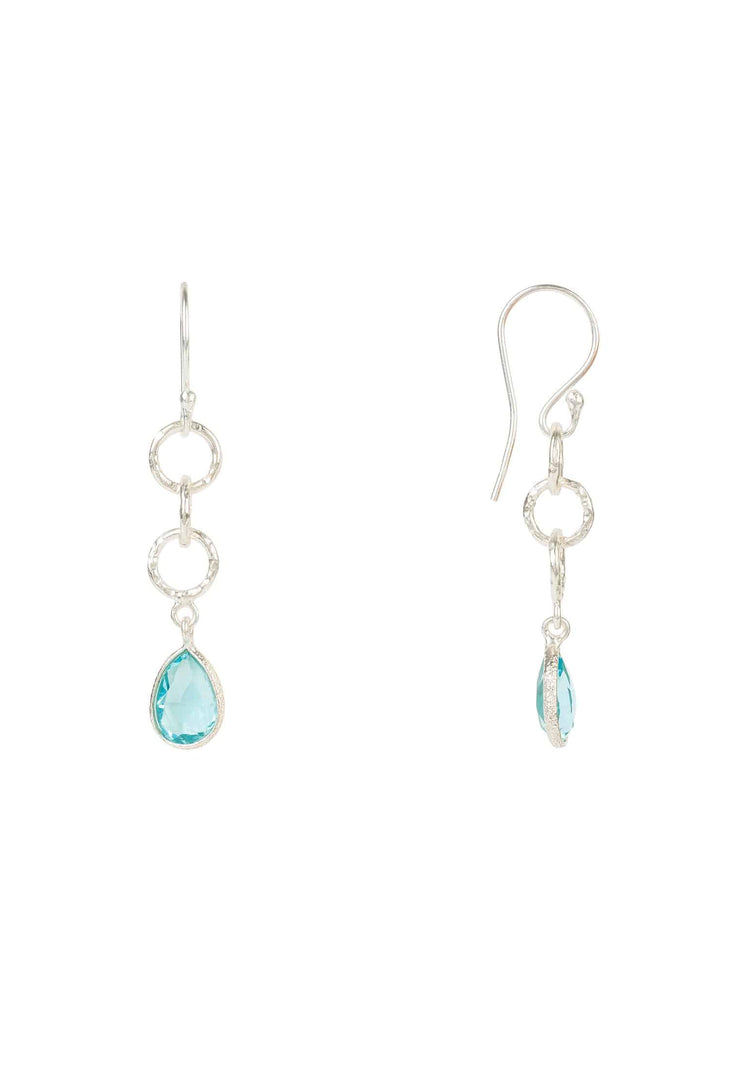 Linked Gemstone Drop Earring Silver Blue Topaz - LATELITA
