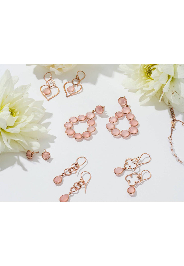 Linked Gemstone Drop Earring Rose Gold Rose Quartz - LATELITA