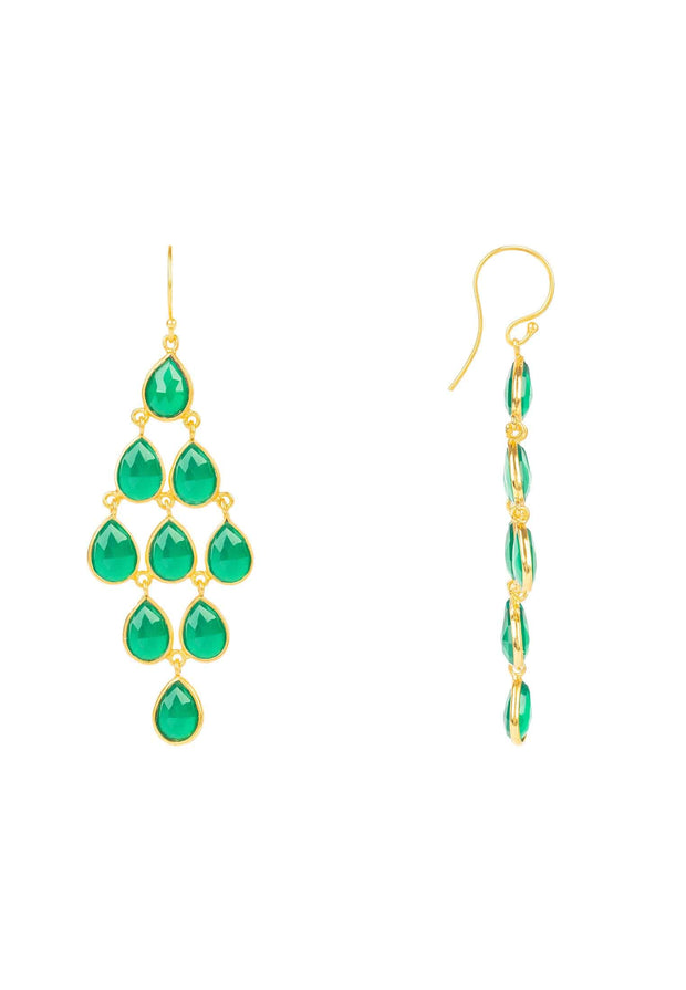 Erviola Gemstone Cascade Earrings Gold Green Onyx - LATELITA