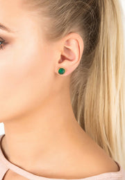 Pia Gemstone Spike Studs Gold Green Onyx - LATELITA